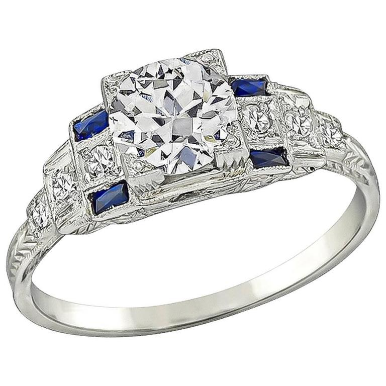 Art Deco Sapphire GIA Certified Diamond Gold Engagement Ring For Sale