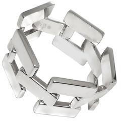 1960s Georg Jensen Mid Century Sterling Silver Brick links Bracelet