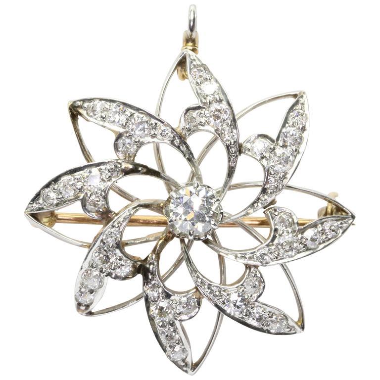 Antique Edwardian Diamond Gold Platinum Floral Pendant