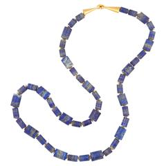 Rebecca Koven Honed Lapis Lazuli Gold Necklace
