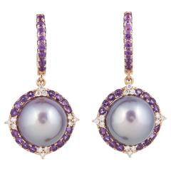 Amethyst and Fresh Water Pearl Dangle Diamond Earrings w/ Rose Gold