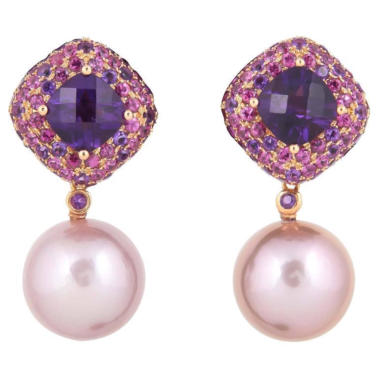 Amethyst Fresh Water Pearl Gold Dangle Stud Earrings