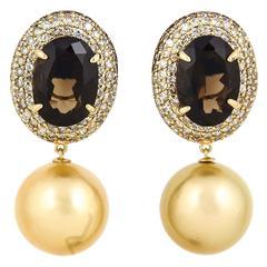 Smoky Quartz Diamonds & Golden South Sea Pearl Dangle Earrings