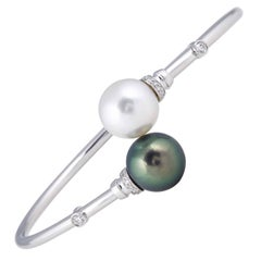 South Sea Tahitian Pearl Diamond Bypass Bangle 18K White Gold