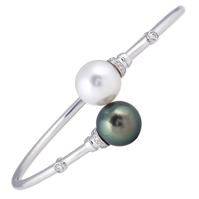 South Sea Tahitian Pearl Diamond Bypass Bangle 18K White Gold  For Sale