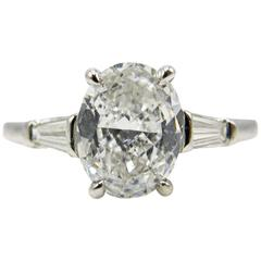 1.01 Carat Oval Diamond Platinum Ring