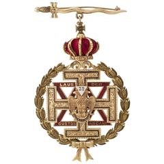 1910 Masonic 32nd Degree Enamel Gold Jewel