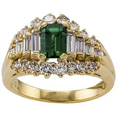Emerald-cut Emerald Diamond Yellow Gold Ring