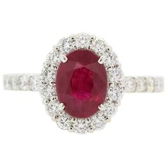 Modern Oval Burma Ruby Diamond Platinum Ring