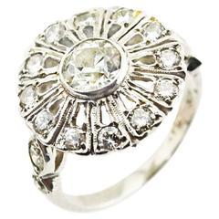 Antique Edwardian Diamond Platinum Cluster Ring