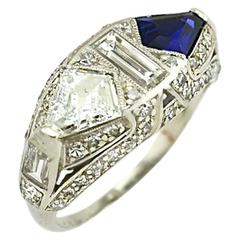 1920s Art Deco Sapphire Diamond Platinum Ring