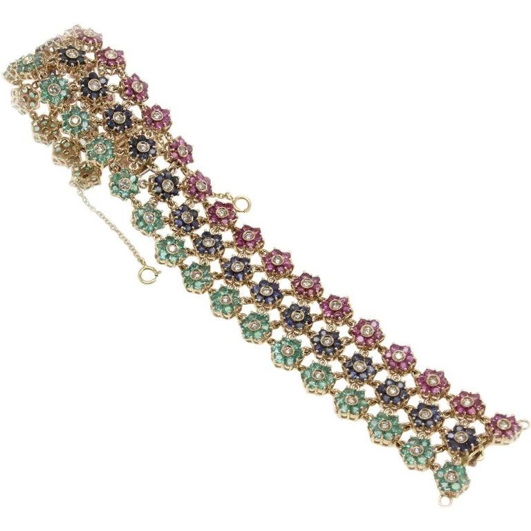 Emerald Ruby Sapphire Diamond Gold Bracelet For Sale