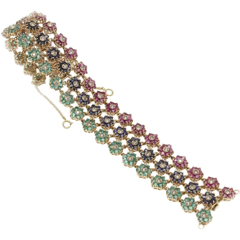 Emerald Ruby Sapphire Diamond Gold Bracelet