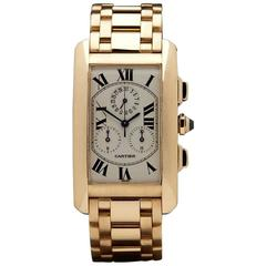 Cartier Yellow Gold Tank Americaine chronograph Quartz Wristwatch