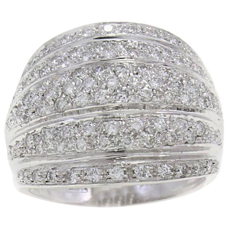 1.25 Carat Diamond 18 Karat Gold Dome Ring