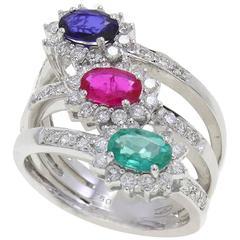 1.45 Carat Emerald Sapphire Ruby and 0.90 Carat Diamonds Gold Ring