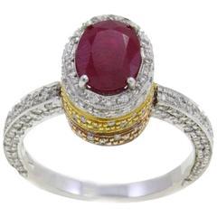 Luise Ruby Diamond Three Gold Ring