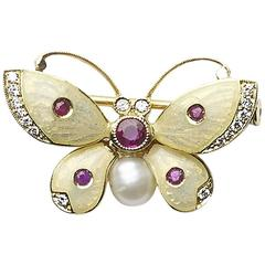 Enamel Pearl Ruby Diamond Gold Butterfly Brooch