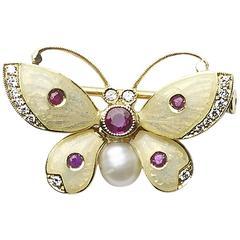 Enamel Pearl Ruby Diamond Gold Butterfly Brooch