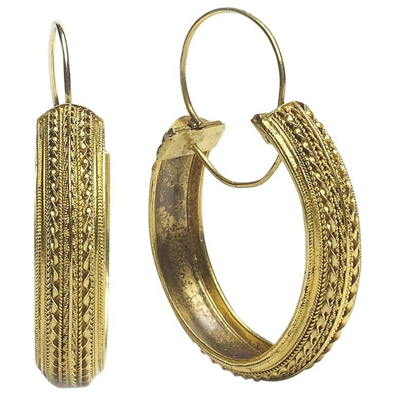 1870s Antique Victorian Gold Hoop Earrings