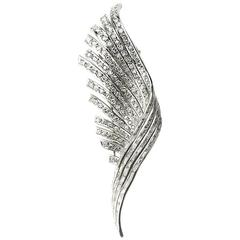Diamond 5.4ct Platinum Feather Brooch