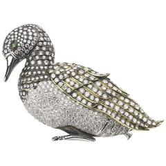 Diamond gold platinum Duck Brooch