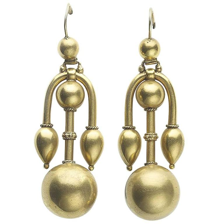 Victorian Gold Earrings For Sale