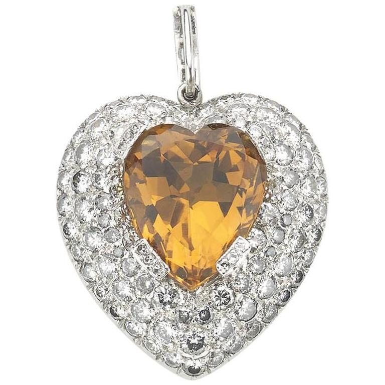 Topaz Diamond Gold Heart Pendant