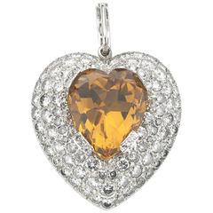 Topaz Diamond Gold Heart Pendant