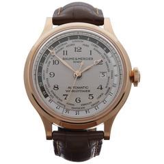 Baume & Mercier Rose Gold Capeland worldtimer Automatic Wristwatch
