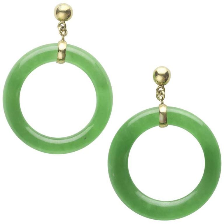Jade Hoop Earrings For Sale at 1stdibs