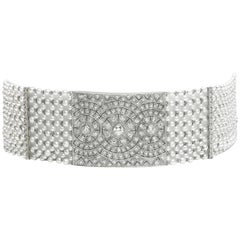 Pearl, Diamond and Platinum Choker Necklace