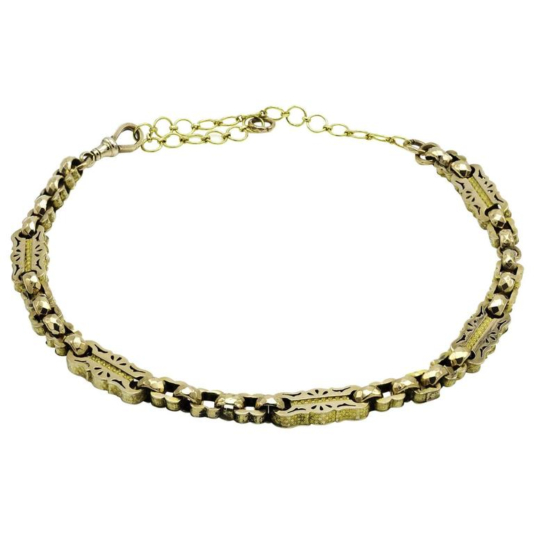 Late Victorian Watch Chain Link Necklace in Yellow and Rose Gold Engraved