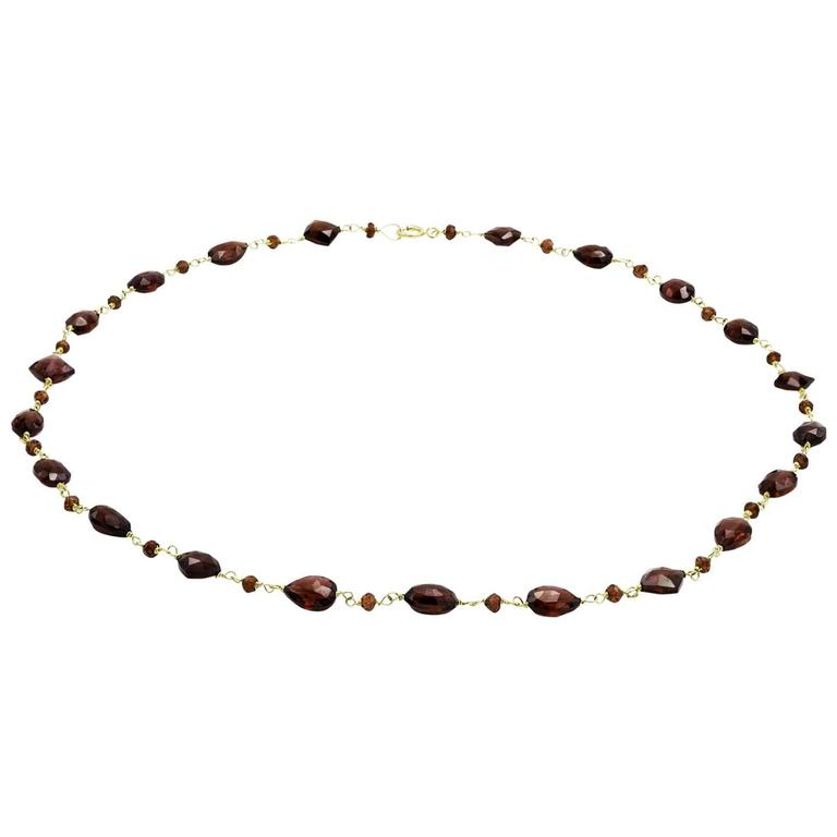 Faceted Garnet Bead Necklace in Gold with Tear Shapes, Squares, and Ovals