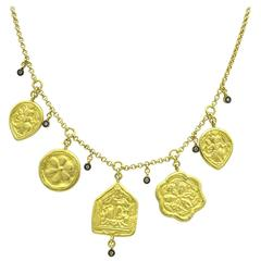 Diamond Stamped Gold Coin Necklace