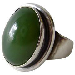 Harald Neilsen for Georg Jensen Nephrite Jade Sterling Silver Ring