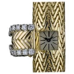 Cartier Ladies Gold Diamond Case manual wind Wristwatch