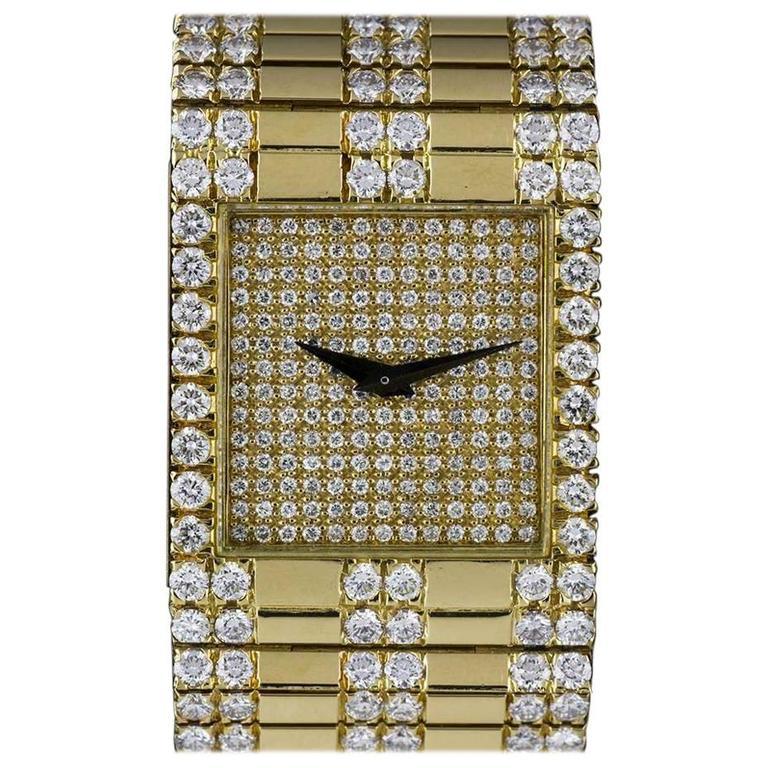 Piaget Ladies Yellow Gold Diamonds Quartz Wristwatch