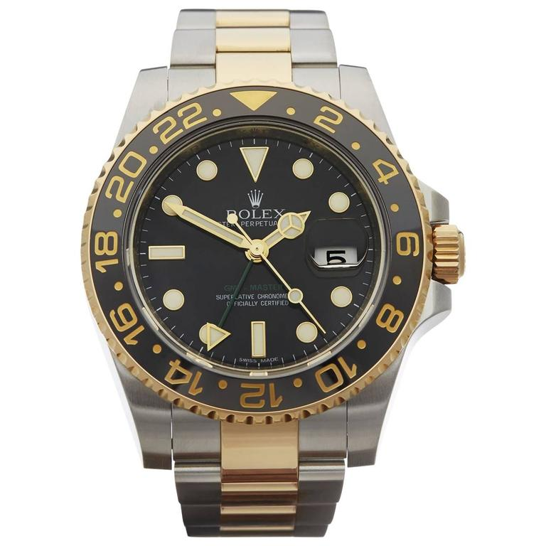 Rolex Yellow Gold Stainless Steel GMT-Master II Automatic Wristwatch For Sale