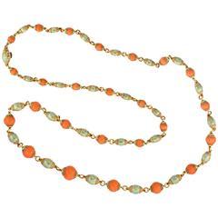 1960s Cazzaniga Italy Coral  Enamel Bead Gold Sautoir Necklace