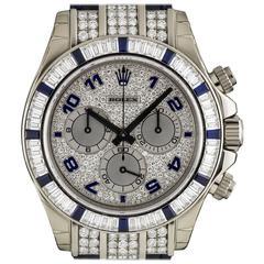 Rolex Gold Diamond Sapphire Daytona Cosmograph Automatic Wristwatch