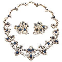 M.Gerard Sapphire Diamond gold Set