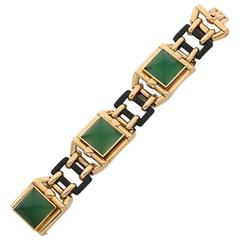 1928 Walser Wald Art Deco chrysophrase onyx gold Bracelet