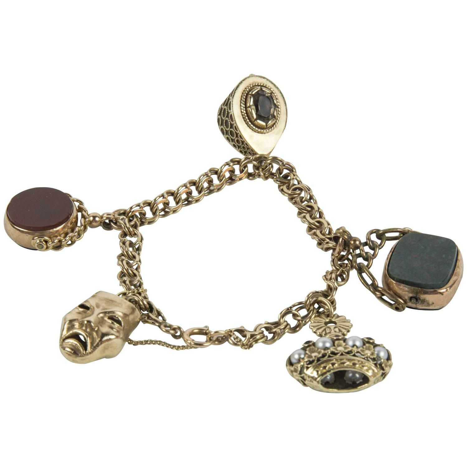 Antique Watch Fobs Gold Charm Bracelet For Sale at 1stdibs
