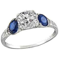 1.39 Carat GIA Certified Old Mine Diamond Sapphire Platinum Engagement Ring