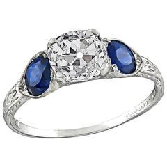 1.39 Carat GIA Certified Old Mine Diamond Sapphire Platinum Engagement Ring