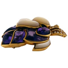 Diamond, Amethyst and Mother-of-Pearl 18 Karat Yellow Gold Pin