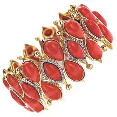 Valentin Magro Rare Pear Shape and Marquise Coral and Diamond bracelet