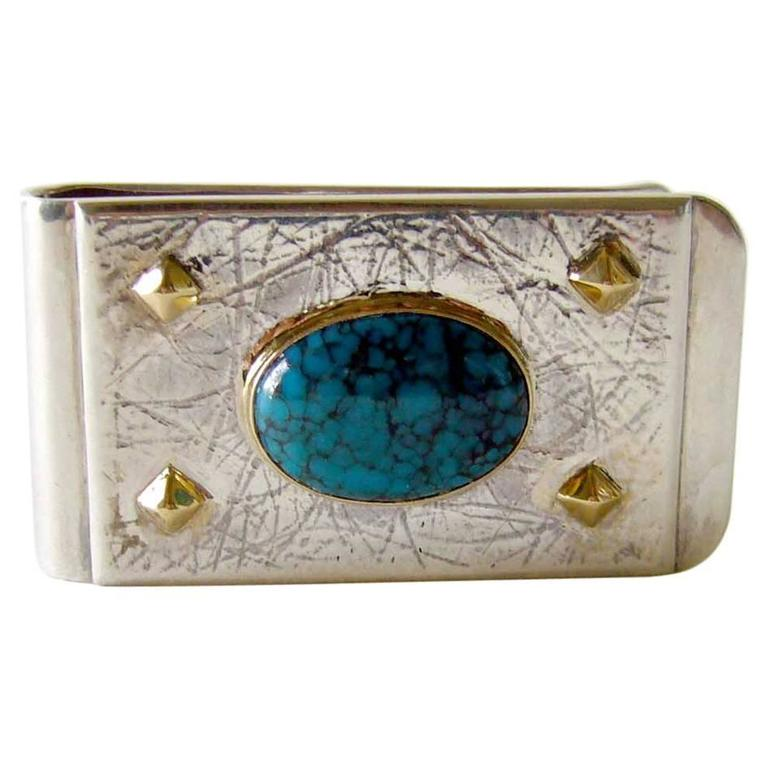 Turquoise Sterling Silver Gold Spider Web Money Clip For Sale