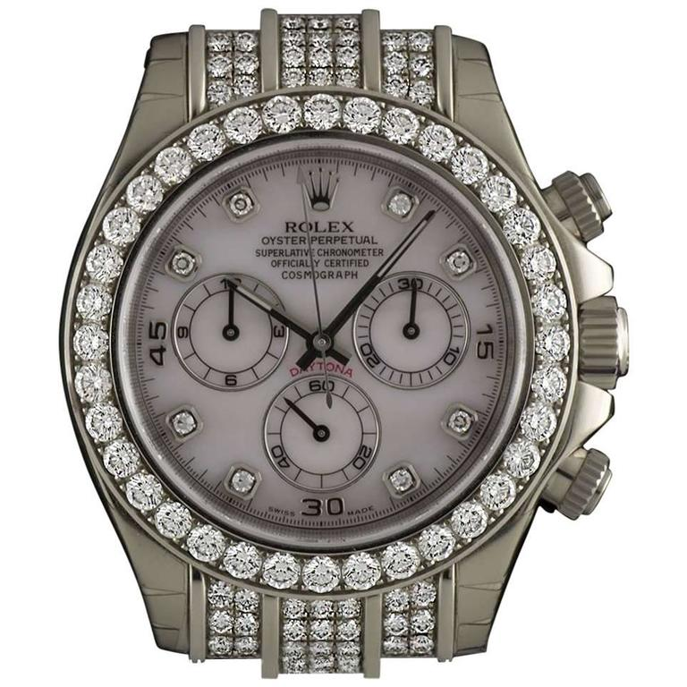 Rolex Gold Diamond Daytona Chronograph Automatic Wristwatch For Sale
